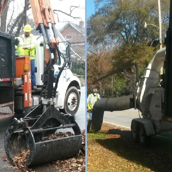 City Crews Picking Up Leaves With a Grapple and Vacum Truck